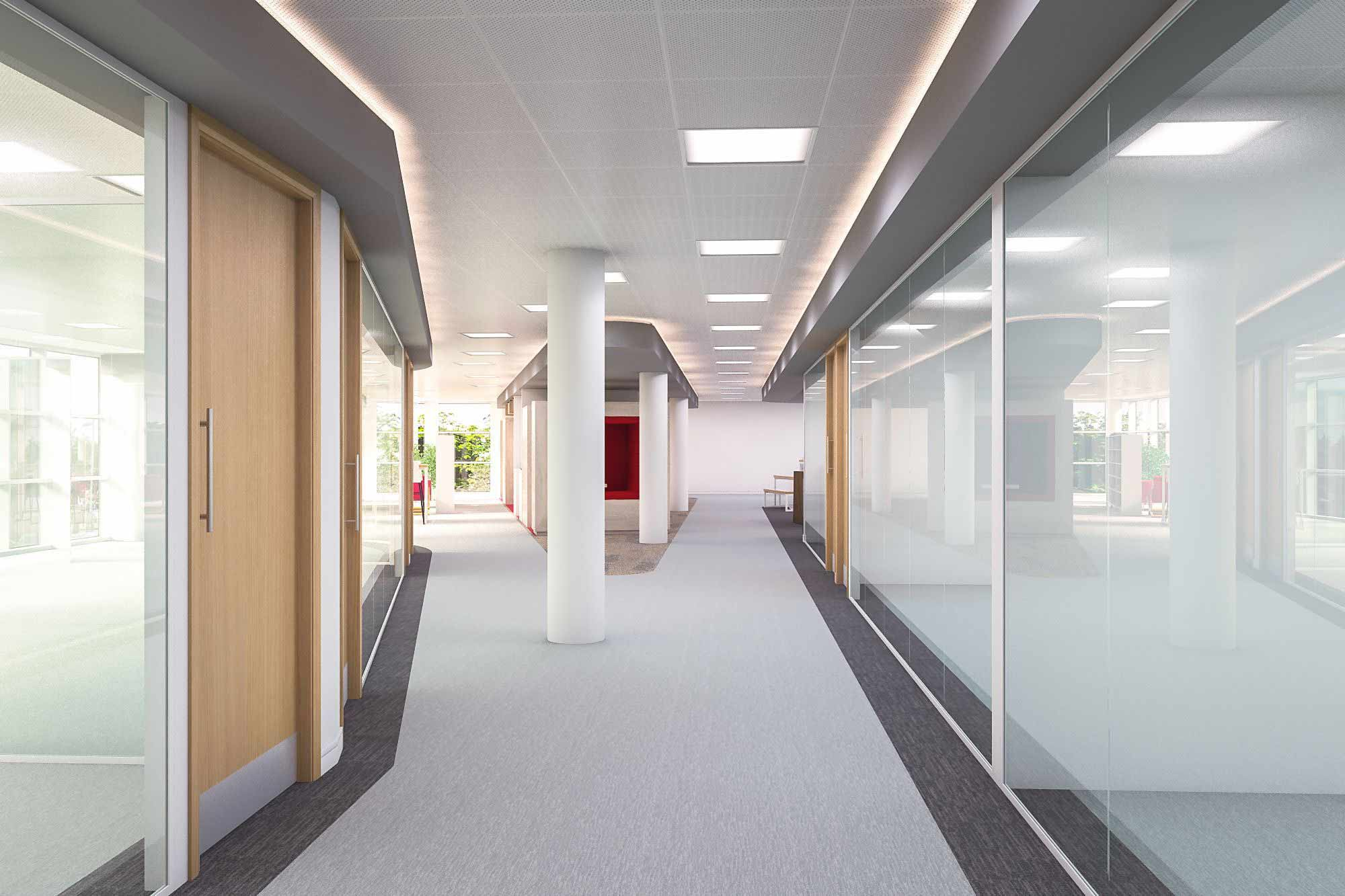 clean office floor white ceilings and open plan modern office.