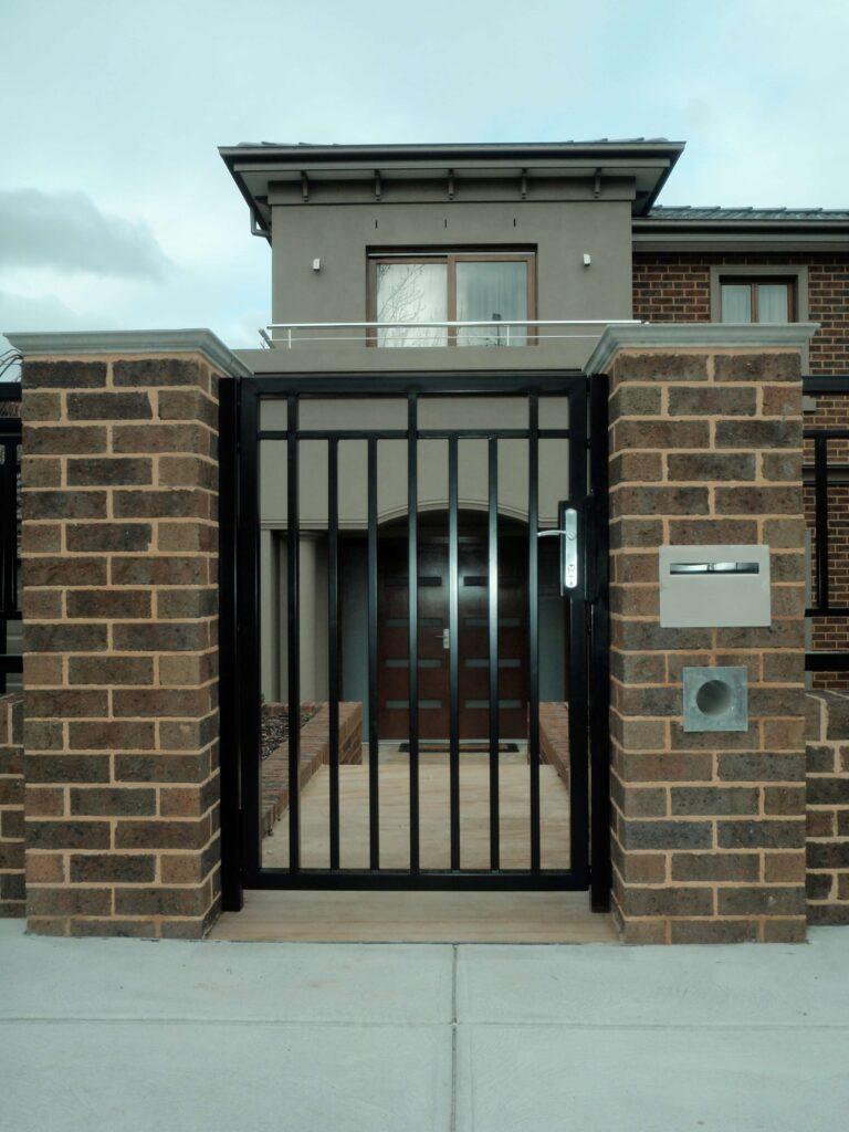 black front door security gate